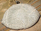 VINTAGE HAND MADE IN KOREA CLEAR BEADED W/ SUBTLE SWIRLED DESIGN TAN COIN PURSE
