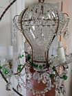 Vtg Antique Hot Air Balloon Crystal Chandelier Beaded Green Drops Gorgeous!