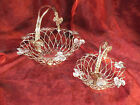 Set of 2 Godinger Silver Plate Wire Baskets with Grape Leaf Accent