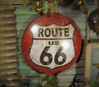 Primitive Antique Vtg Style Red US Highway Route 66  Round Dome Tin Wall Sign