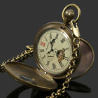 Mens Pocket Watch Mechanical Copper Retro Case Tourbillon Vintage Chain Luxury