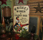 Primitive Vtg Style Hot Pin Up Girl COWBOY WHISKEY Women Dice Tin Sign Gift Idea