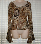 Vintage hippie boho chic brown paisley w glitter dots throughout bell sleeves