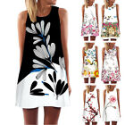 Vintage Style Ladies Summer Sleeveless Beach Printed Short Mini Dress Top T Shir