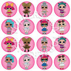 16x EDIBLE LOL Dolls Birthday Party Cupcake Toppers Wafer Paper 4cm uncut