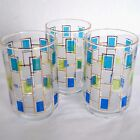 3 VTG Libbey Nordic Glasses Juice Water 12 oz Glass Tumbler Blue Green RETRO USA