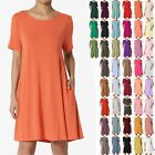 TheMogan S~3XL Basic Round Neck Short Sleeve Pocket Swing Flared Tunic Long Top