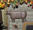 Primitive Vtg Style Farmhouse Dairy Farm Cow Embossed Hanging Metal Tin Sign