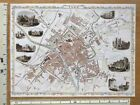 Old Antique colour map of York, England: 1800's, 1851 12.5