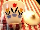 Mint 1950's BEAUTIFUL GREASE JAR Fire King TULIPS w LID Tulip Oven Ware