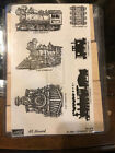 RARE STAMPIN UP ALL ABOARD Train Locomotive Steam Engine Caboose Scrapbooking