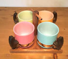 4 SIESTA WARE TEA COFFEE MUGS CUPS pastel/frosted glass/wood handles caddy