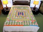 FULL-QUEEN Vintage Hand Sewn All Cotton TRIP AROUND THE WORLD Heavy QUILT, Good!