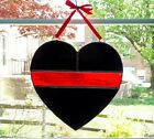 Thin Red Line Heart Stained Glass Suncatcher Firefighter Fire Service Gift