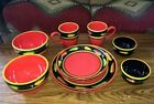 10 Pc JALAPENO by Clay Art Stonelite Hand Painted Dinnerware Set Service for 2