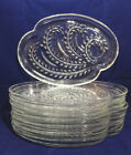 Lot Of 8 Federal Crystal Clear Glass Snack Luncheon Trays Plate Homestead Wheat