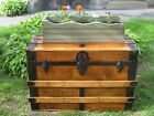Refinished 1800s Antique  Steamer Trunk Coffee Table Chest w/ Key,Tray