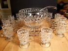 Vintage Pressed Glass Punch Bowl~ Ladle ~10 Cups And Under Plate 17