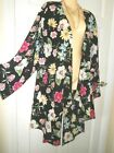 STUNNING EVANS BLACK BOLD BRIGHT SUMMER KAFTAN COVER UP KIMONO TUNIC SIZE 24 NEW