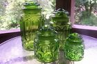 L E Smith Glass Moon and Stars Green Canister Set