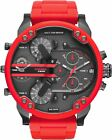 DIESEL Mr. DADDY DZ7370 2.0 Chrono Multiple Time Zone Red Silicon Strap Watch