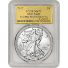 2017 American Silver Eagle PCGS MS70 First Day WP Strike Gold Foil 1 of 2017