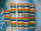 Set of Vintage Bright Color Striped Juice Glasses Orange Green Blue Yellow Clear