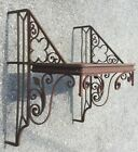 OLD VTG ANTIQUE WROUGHT IRON GARDEN WINDOW SHELF METAL FLORAL LEAF DECORATIVE