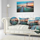 East Urban Home Landscape Lighthouse at Lake Neusiedl am See Lumbar Pillow