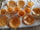 Fire King Mugs - Set of 6 coffee tea cups with saucers peach lustre oven ware