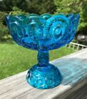 Vintage L.E. Smith Aqua Moon and Stars Pedestal Compote / Candy Dish