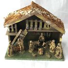 Antique Wood Nativity Set Lights Up Large 11 Piece Made in Italy 12 Tall x 13