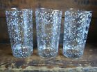 Lot 3 Vintage Mid Century Modern Drinking Glass Confetti Gold Black White 12 oz