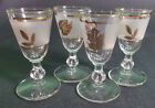 Libbey Golden Foliage Cordials Shot Glasses Frosted Set of 4 Stemware 3 3/4 in