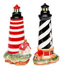 Black and Red Lighthouse Salt and Pepper Shakers Set