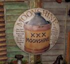 Primitive Antique Vtg Style Hillbilly Moonshine Brew Jug Dome Metal Tin Sign