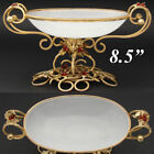 Antique French Napoleon III White Opaline Vide Poche Bonbon Glass Berries