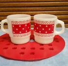 Red Polka Dot Lace Fire King Stacking Style Mug