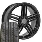 18x8 Wheels Tires Fit Audi RS6 Gloss Blk Rim ET35 5x112 Ironman W1X