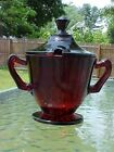 Vtg Royal Ruby Depression Glass Covered Sugar Bowl