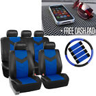 Pu Leather Car Seat Covers For Auto W Steering Coverbelt Padsdash Pad