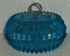 Blue Glass Candy Dish Nut Bowl Lidded Trinket Box Indiana Diamond Point Vtg 5.5