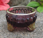 Dainty Purple and Gold Glass Footed Open Salt Dip Cellar Dish