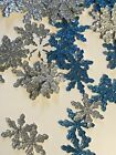 120ct SNOWFLAKE DECORATIONS FROZEN Winter Wonderland Decor Party Blue And Silver