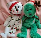 TY Set of 2 Holiday Teddy 2002/1998 Green/Red/White Christmas Lot Beanie Babies