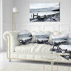 Landscape Printed Small Sea Bridge from Rocky Beach Lumbar Pillow