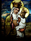 L Antique Church Stained Glass Window Architectural Salvage St Anne Virgin Mary