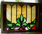 Antique Vtg Church Stained Glass Window Architectural Salvage Gothic Scroll W109