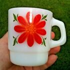 Vintage Milk Glass Fire King Coffee Mug Flowers