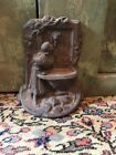 vintage shabby cottage chic CAST IRON DOORSTOP URN /girl at lion fountain